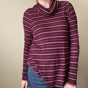 FREE PEOPLE Striped Thermal Knit Cowl Neck Top M